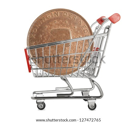 Ten euro cents coin in a shopping trolley on white background - stock photo