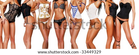 Ten female bodies in corsets, isolated on a white background, please see some of my other parts of a body image - stock photo