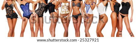 Ten female bodies in corsets on a white background.