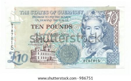 Ten Guernsey Pounds - stock photo