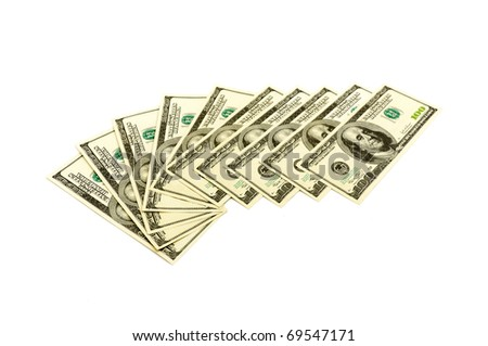 Ten hundred dollars notes isolated on white