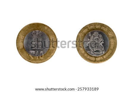 Ten Indian Rupee coin isolated on white background  - stock photo