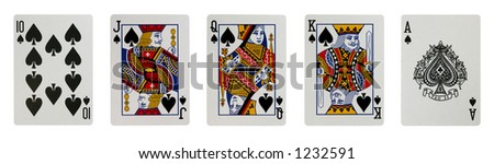Ten, jack, queen, king and ace of spades isolated. This is the highest hand in poker. Contains a clipping path. Large high resolution file - stock photo