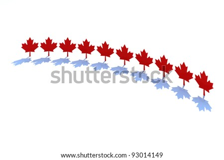 ten maple leafs, canadian states symbol 3d illustration - stock photo