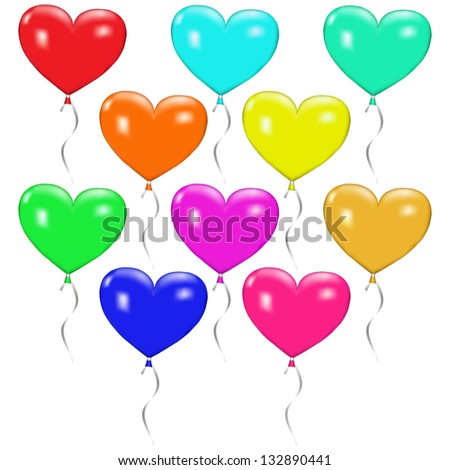 Ten multicolored balloons in the shape of hearts with ribbons. Raster version.