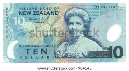 ten new zealand dollars - stock photo