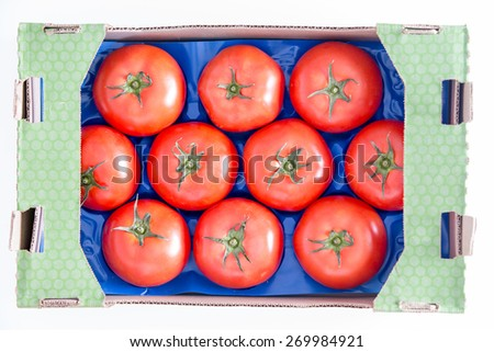 Ten Organic Red Tomatoes on a Blue Tray Inside a Cardboard Box, Isolated on White background. Captured in High Angle View. - stock photo