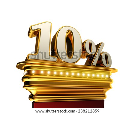 Ten percent figure on a golden platform with brilliant lights over white background - stock photo