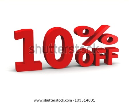 ten percent off in red 3d letters - stock photo