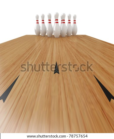 Ten Pin Bowling on white background, Clipping path included. - stock photo