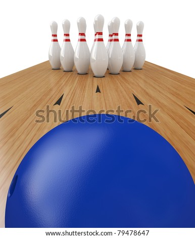 Ten Pin Bowling on white background, Clipping path included.