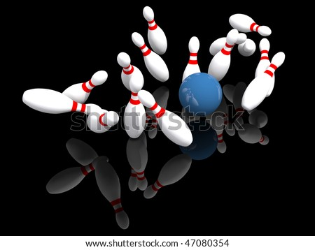 ten pin bowling strike illustration isolated on black