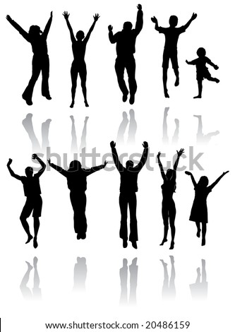 Ten silhouettes of people jumping for joy with reflections below - stock photo