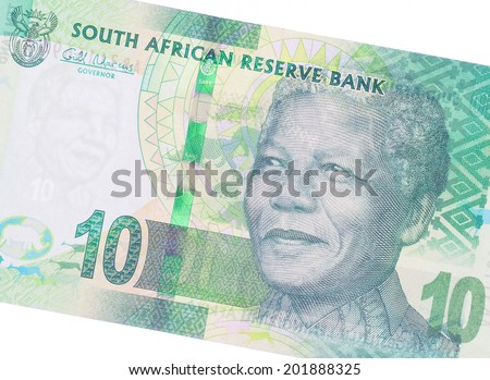 Ten South African Rand, part of a complete banknote - stock photo