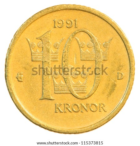 ten swedish Kronor coin isolated on white background - stock photo