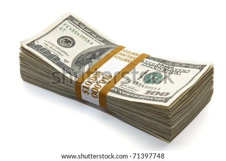 ten thousand dollars on white background - stock photo
