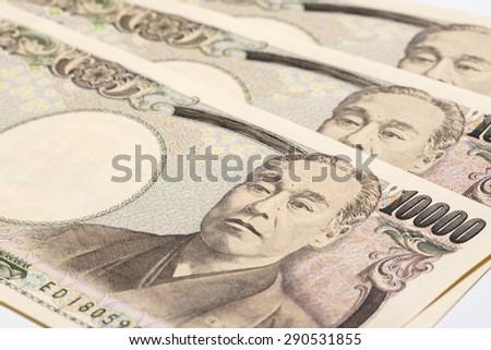 Ten thousand yen bills, close up - stock photo