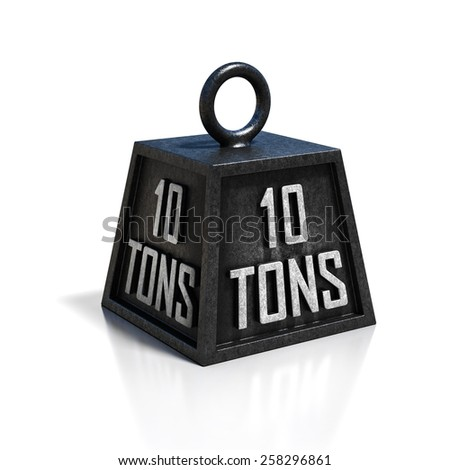 ten 10 ton weight isolated on white background - stock photo