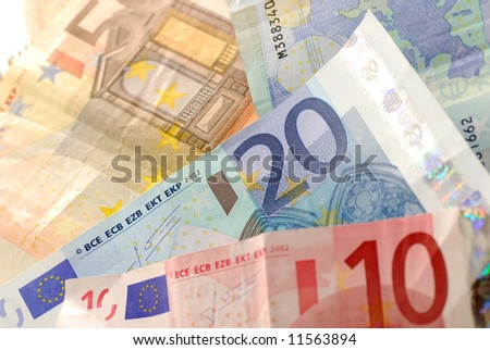 Ten, twenty and fifty Euro banknotes. - stock photo