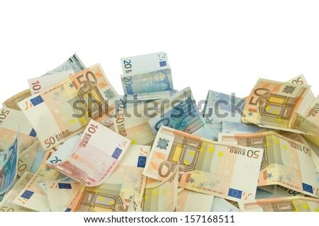 ten twenty and fifty euros bills texture background - stock photo