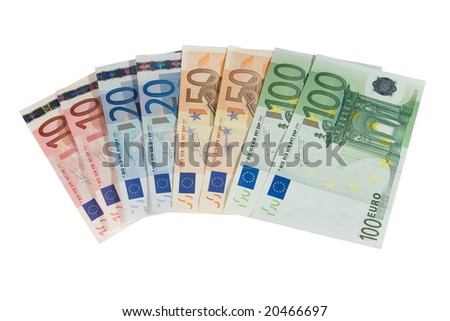 Ten, twenty, fifty and one-hundred euro bills (isolated on white) - stock photo