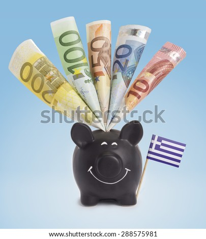 Ten,twenty,fifty,one hundred and a 200 Euro banknote in a smiling piggybank of Greece.(series) - stock photo