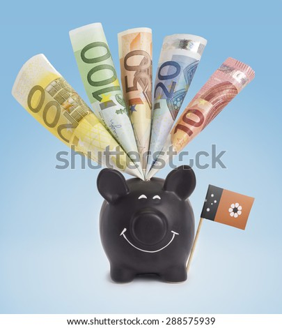 Ten,twenty,fifty,one hundred and a 200 Euro banknote in a smiling piggybank of NorthernTerritory.(series) - stock photo