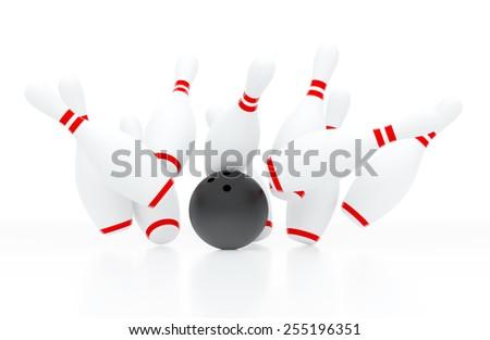 Ten white bowling skittles hit by black ball - stock photo