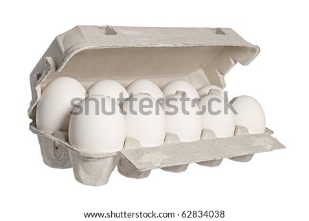 Ten white eggs in a package to isolate the background - stock photo