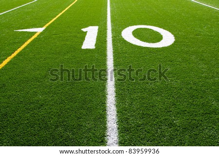 Ten Yard Line of a Football Field, (Part 9 of 9 Series) - stock photo
