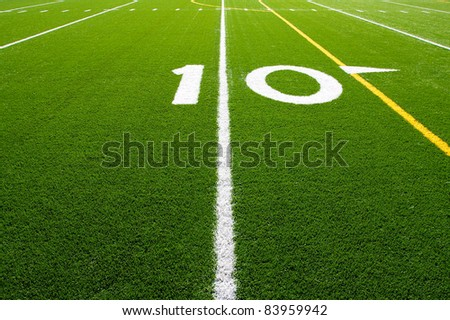 Ten Yard Line of a Football Field, (Part 2 of 9 Series) - stock photo