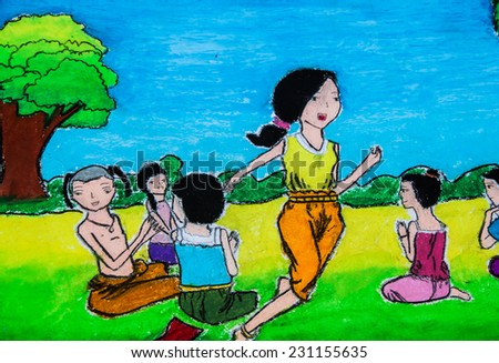 Ten year old art of play culture in Thailand  - stock photo