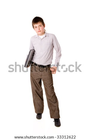 Ten years Boy holding laptop isolated on white - stock photo