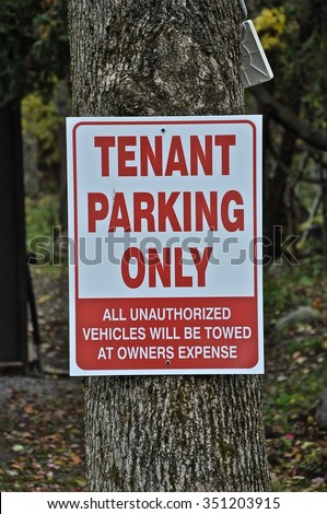 Tenant parking only sign  - stock photo