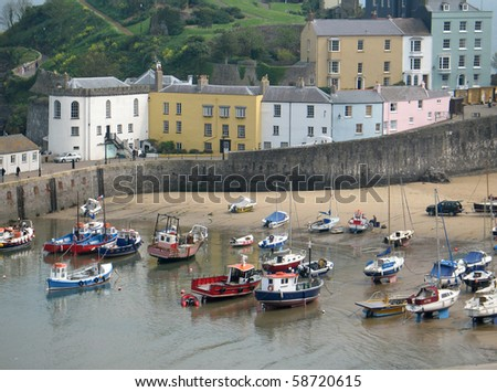 Tenby harbour, South Wales, UK - stock photo