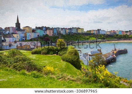 Tenby Wales UK historic Welsh town in Pembrokeshire on west side of Carmarthen Bay illustration like oil painting