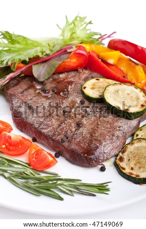 tender beef fillet steak with vegetables - stock photo