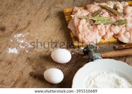 Tender chicken raw fillet - stock photo