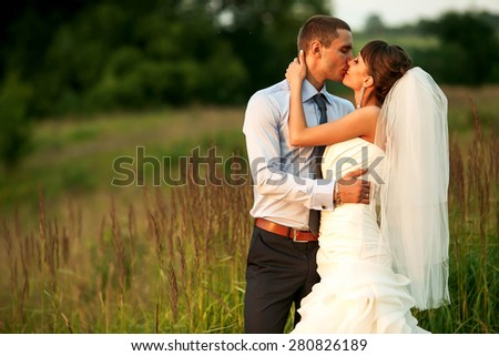 tender couple is hugging and kissing in the herbs on the background forest - stock photo