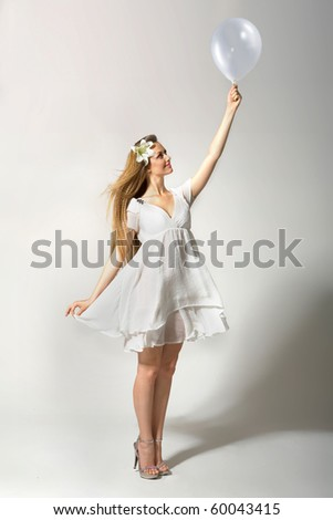 tender girl with balloon - stock photo