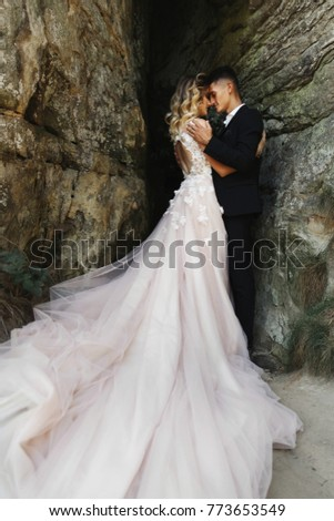 Tender hugs of wedding couple in love in the rays of sun standing before the rocks