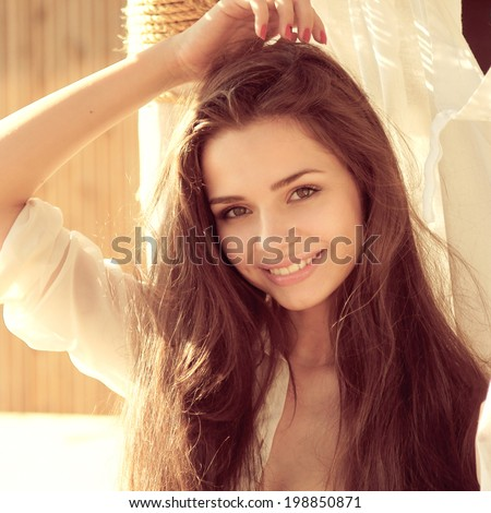 tender outdoor portrait of young attractive, tender, sensual and elegant woman - stock photo