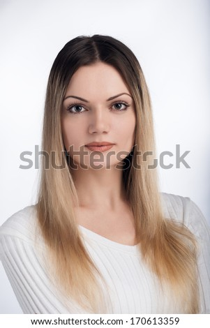 Tender portrait of a girl with long hair