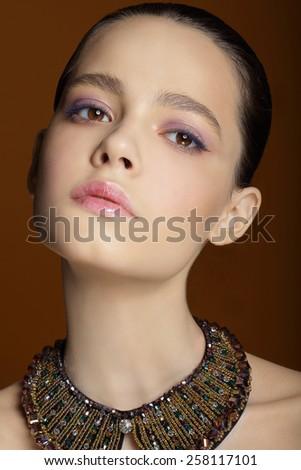 Tenderness. Femininity. Portrait of Young Brunette - stock photo