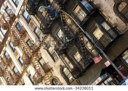 Tenement in Little Italy, New York, US - stock photo