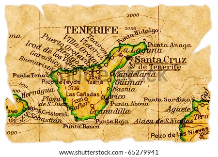 Tenerife, Canary Islands on an old torn map from 1949, isolated. Part of the old map series. - stock photo