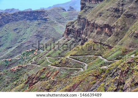 Tenerife, Canary Islands, Spain - beautiful mountain road to Masca - stock photo
