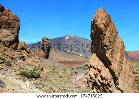 Tenerife, Canary Islands, Spain - volcano Teide National Park, UNESCO World Heritage Site. Roques de Garcia and Mount Teide - famous Finger of God rock (Roque Cinchado). - stock photo