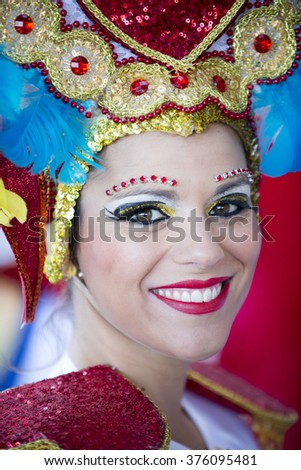 TENERIFE, FEBRUARY 9: Participants of the Carnival in Santa Cruz de Tenerife on February 9, 2016, Tenerife (Canary Islands) Spain.