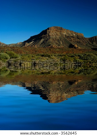 tenerife mountains vegetation with artificial lake, computer generated - stock photo